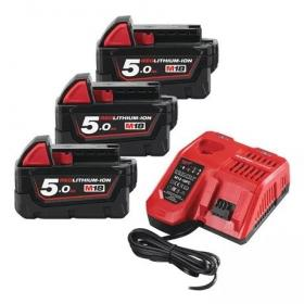 M18 NRG-503 - A set of 2 batteries M18™, Li-ion 18 V + fast charger