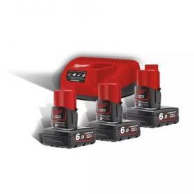 M18 NRG-603 - A set of 3 batteries M12™, Li-ion 18 V + fast charger