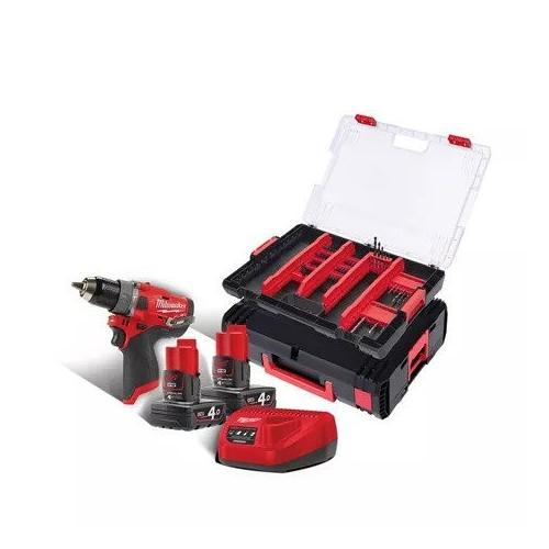 M12 FPD-402XA - Sub compact 2-speed percussion drill 12 V, 4.0 Ah, with 2 batteries and charger