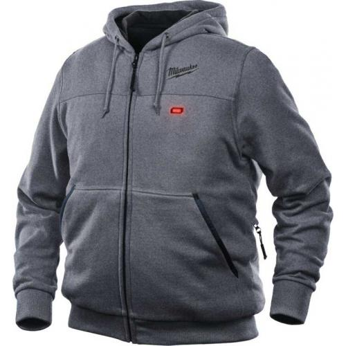 M12 HH GREY3-0 (M) - M12™ Grey heated hoodie for men, size M