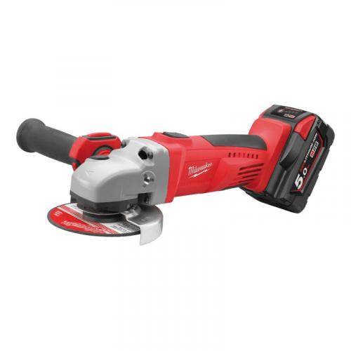 HD28 AG125-502X - Angle grinder 125 mm, 28 V, 5.0 Ah, HEAVY DUTY, slide switch, in case, with 2 batteries and charger
