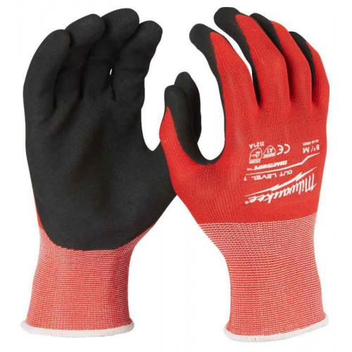 Rękawice odporne na przecięcia, poziom ochrony 1, rozmiar M/8