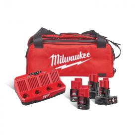 M12 NRG-424B - Zestaw 4 akumulatorów M12™, Li-ion 12 V, 2 x 2.0 Ah i 2 x 4.0 Ah + ładowarka, w torbie